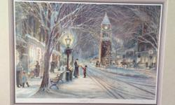 Trisha Romance limited edition framed prints. Candlelight Stroll--$750 Evening skaters with vignette--$1200. Professionally framed and matted. Excellent condition. Beautiful set.