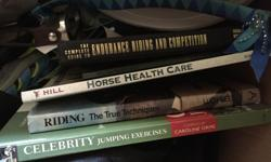 Books Over reach boots - size small (white) Black ones - size medium Crops - three to choose from Safety stirrups Browband - never used - full Bridle hanger - blue - new Cashel trail organizer - never used Everything has to go! Every item is $5 :)