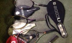 All racquets are either NEW or Like NEW.. Head covers... WILSON, PRINCE, BLACK KNIGHT, SPALDING and BABOLAT... TITANIUM, GRAPHITE.... THESE are ALL quality racquets...