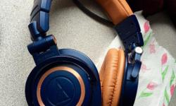 These are LIMITED EDITION audio technica ATH M50X headphones in blue and tan color , bought originally for $450 , 4 month old , barely used for a week or 2. CURRENT PRICE ON AMAZON.CA - $537. Urgent sale. Price is slightly-negotiable.