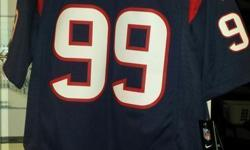 Brand new authentic NFL Jersey. Houston Texans #99 - JJ Watt. Brand new - still has tags on. Sells for $150 - a steal at $75! Men's size L. Won it in a football playoff pool - need the money.