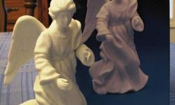 A collection of 11 white Bisque Avon Nativity scene collectibles from the 1980's, offered at a fraction of their original cost.   The set includes the 3-piece Holy Family (no box, but in original styrofoam);  all others are in original boxes:  Cherub,