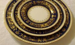 Exquisite elegant pattern.  Cobalt blue ribbon covered with lush gold details. Purchased in the 1950's and lovingly cared for for more than 60 years. I've done my homework, these dishes are worth several thousand dollars.  Owner is motivated to sell, the