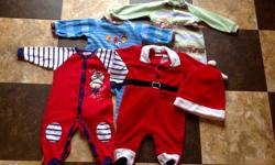 In excellent condition 8 sleepers, , 16 onesies, 7 pants, 3 shirts, 2 overalls, 4 one piece outfits. Size 3 to 6 and 6 months...