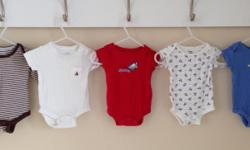Five baby onesies 0-3 months. Brands are baby Gap, Disney baby and George. There are 3 George onesies that are for Newborns.