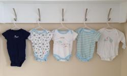 Five baby onesies 6 months. Brands are carter's, Small Wonders and Joe Fresh.