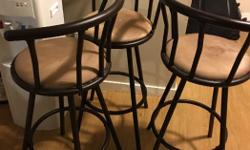 """3 bar stools Metal frames 40"""" high , seat at 30"""" Please call or txt 4039930570"""