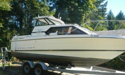 1996 Bayliner Cierra 25ft. with 5.7 L. 250 hp. Mercruiser with 640 hrs. /2004 Yamaha 9.9. HT w/power tilt /remote controls. 2007 Karavan Trailer Galv. with electric brakes/Full Galley / hot & cold water / microwave, fully enclose marine head w/ holding