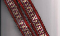 beaded? Asian? Native? Indian?  cloth choker? white blue orange These are really nice - they may be quite old, but I do not know to be honest..  They do have some minor wear on them so I do know that they are not brand new.  They measure about 14 inches
