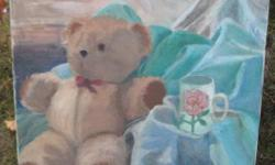 "A cute little oil painting of a stuffed bear ~ 20"" x 24"" . Unframed. ~ $ 25.00"