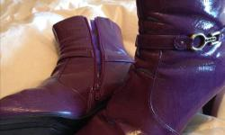"""Three beautiful size 10 boots to choose from and one sandal - worn once - all in great shape (including heel and sole) so let's chat about price! Purple patton leather ankle boot - $25 Red Suede """"Henri-Pierre ankle boot- $25 Brown leather """"Aldo"""" full boot"""