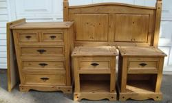 Handcrafted, solid wood bedroom set. Includes, queen headboard, dresser, 2 nightstands, and mirror. Warm, antique finish. In good condition.