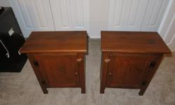 Matching bedside tables for sale. They are all solid wood, no chipboard or particle board in these beauties. Solid pine tops. They are in excellent condition. I suppose they could also be used as side tables in a living room or den.