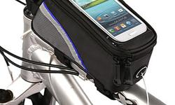 """Bicycle Bike Frame Phone Bag - 1.7L 5.7"""" - Black/Blue - L19.5 x W10 x H9 cm - brand new in package - $25 firm PRODUCT DESCRIPTION: Get the most from all your apps with this toptube carrier. A clear window lets you read cycling data or GPS directions and"""