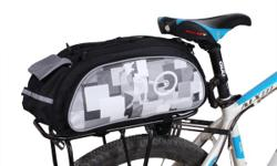 """Bicycle Bike Rear Rack Top Bag with Shoulder Strap & Rain Cover 10L - Black/Grey - L16.5"""" x W8"""" x H7"""" - brand new, never used - $45 firm (bag only, no rack included)"""