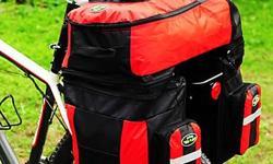 """Bicycle Bike Rear Rack Waterproof Double Pannier Bag with Rain Cover - 70L - Red - W19"""" x D16"""" x H26-1/2"""" - brand new, never used - $160 firm"""