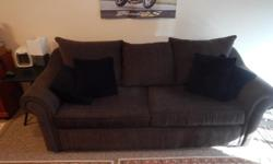 """Dark green cloth sofabed couch. 7'8""""x3'3""""x2'9""""high. 68"""" wide bed. 5 years old. Excellent shape."""