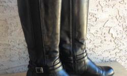 These really nice and comfy black faux leather boots are too wide for my foot. They are in excellent condition and are Sz. 7.5 W $15