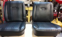 These are two Black vinyl bucket seats from a 1965 Nova SS. The seat covers are new ($250 US) have full seat cushions and seat backs, all chrome trim and seat tracks. The catalogue price for it all is over $1000 US. Selling for less than1/2 price. Will