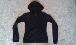Black cardigan with hood, size small. 75% viscose, 25% nylon.