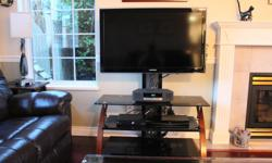 """3 shelf black glass TV stand 40"""" wide by 19"""" deep. Fits up to 50"""" TV"""