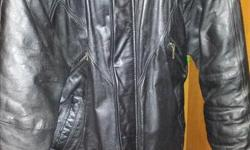 Heavy Men's Black Leather Jacket ( large ) , 4 front pockets ( 2 of which have sippers ) 1 inside pocket. This jacket is like new condition and will keep you warm and dry. Club International by Tip Top . Thanks
