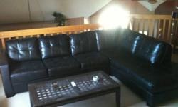 Black Leather Sectional Large black leather sectional, like new condition?Asking $1000 or trade for something of interest!!