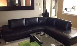 6 month old black leather sectional. In perfect condition, no rips or tears. Needs new home since I'm moving into a smaller condo $1200 obo This ad was posted with the Kijiji Classifieds app.