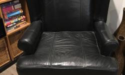 Black leather wingback chair in great shape