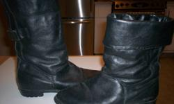 "These boots are fully lined & warm for winter.  Good winter tread & not too high of a heel.  They can be worn up, or cuffed over as seen in pix.   9"" tall from base of foot.  Only worn a couple times as they are the wrong size for me....."