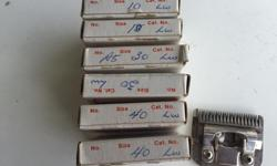 Many blades for your Oster trimmer/shaver for your horse, two size 10, two size 30, two size 40, one size 15.