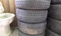 set of 4 older BMW 16 in. chrome wheels and tires(205/55/16) decent condition $200 obo in yellow point.