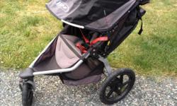 Great stroller we picked up two years ago, but has barely been used in the last year since my peanut learned to walk and became fiercely independent...a sign of things to come. Sigh. It also has the drink holder attachment, which is rather handy. We live