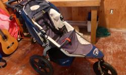 Navy and tan stroller. Great for running, and super manoeuvrable!. Bought in 2009. Comes with... -BOB snack tray -parent console (for drinks and a zippered pouch) -warm fuzzy reversible seat insert for the upcoming colder months, and more comfort. -and I