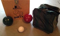 Bocce ball set complete with carry case and wooden box
