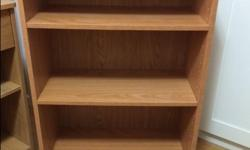 """I have a small 3 shelf bookcase with removable shelves. 24 1/2"""" W x 11 1/2"""" D x 36"""" H excellent condition (like new) $25 bookcase I also have an oak mirror, 3 pc coffee table set, desk"""