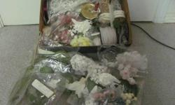 Box of mini silk flowers, leaves, strings and sprays of beads, ribbons and birds. These items would be perfect for making shower or wedding favors, corsages or boutonnieres, or other gifts. Could also be used for crafting with kids. I also have some yarn