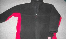 """Boy's """"GAP"""" black and red fleece jacket with black, nylon lining. Zippered pockets and zipper up front. Size 5/6 (child's) Thick, warm material. No rips. Adjustable drawstring waist."""