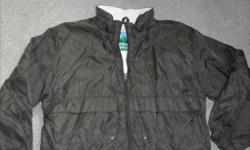 """Boy's black """"Northern Climate""""100% nylon jacket, lined with grey polyester/rayon fleece lining .Zippered front. Size 12. Good condition, no rips or tears."""