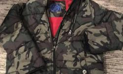 Boys winter coat with hood from Blue Zoo. Camp coloured with red fleece lining. Age 9-10. Rarely worn.