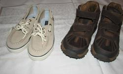 Brand new never worn boys size 1 Tommy Hilfiger boat shoes.  Suede leather, not imitation.    Also, size 1.5 leather hiking boots by Stride Rite, never worn and in mint condition.   Two brand new pairs of shoes for less than the price of one if purchased