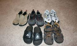 5 pairs of shoes - Very good condition Geox - Sz 12 Merrell - Sz 12 Adidas Runners - Sz 13 Sandals - Sz 13 Teva Sandals - Sz 1   Call, text or email me.