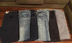 All jeans fit age (approx.) 11-13 yrs old 2 H&M brand size 12-13 2 Old Navy size 12 2 Carbon size 26 (approx 12) all slim fit $10 each or $50 for the lot. Barely worn as my son grew out of them within a couple months of purchase.