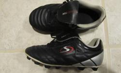 2 pairs of Boys Size 13 Soccer Shoes 1. Size 13 Black/Silver Sportek soccer shoes 2. Size 13 Black/Blue (velcro closure) Athletic Works soccer shoes Asking $5 each.
