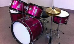 """Pls view my other ads by clicking """"View poster's other ads"""" on the right.   5-pc Junior Drum Set(For Ages 3-10 yrs)   Real Drumsets, not toys...Poplar and Birch shells are all 6-ply.  Drums: Bass Drum: 16""""x11"""" 2XTom Tom: 10""""x6"""", 8""""x6"""" Floor Tom: 12""""x10"""""""