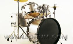 In Stock...5pc. Junior Drum Set  for the young beginner. These are Not Toys, these are Real Drum Sets with real wooden shells. Complete with everything you need, 5 Drums, Hardware, Cymbals, Sticks and Stool. Recommended for ages 4-10 Dia/Depth ·