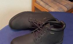 Selling a very nice pair of brand new Rockport Boots not worn once as indicated by pictures. Asking 95. Open to offers but price is very fair IMO. Worth 170 including tax. Also very easy to clean. Color: Black Size: 10.5-11, closer to 11.