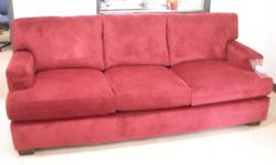 "Just arrived. Never used, solid built red corduroy sofa. Very stylish and very comfortable. Measures approximately at a length of 91"" and depth of 41"". Feel free to call, email or stop in and take a look at our sales floor. Bedford Buy N Sell - 1743"