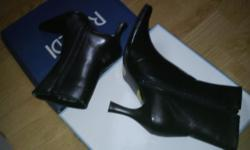 Super cute little black boots by Rinaldi. Size says 37 (I believe that would be the same as a size 6 or 7). Never worn, still totally brand new, shiny and oh-so sweet. Boots have great non-slippery bottoms with price stickers still attached ($50 new) and