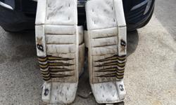 37 +1 zero G pads. Custom made, has extra inner calf and knee protection. Comes with matching blocker and trapper. Used, 2 full seasons. Comes with a new pad bag. Call, email or text Sheldon